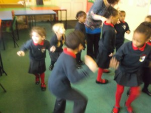 Reception singing about their class author, Julia Donaldson, and their favourite book - The Gruffalo.