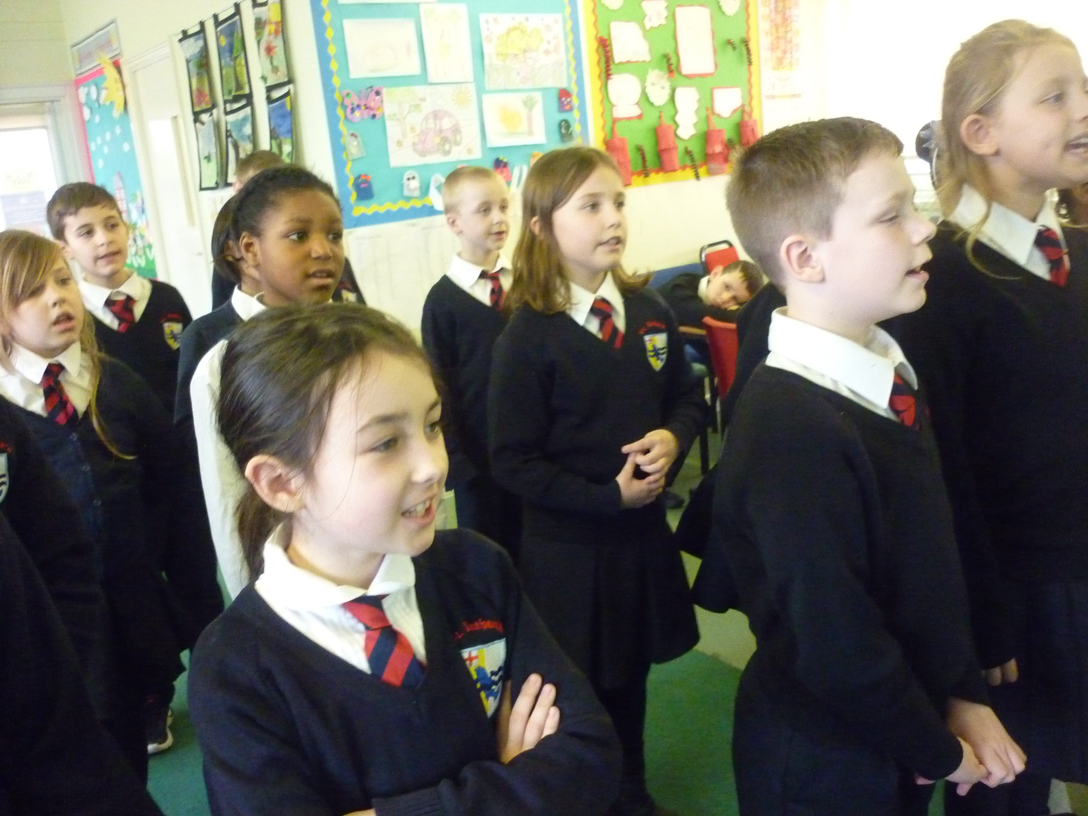 Year 4 singing the Beverley Naidoo song, their class author.