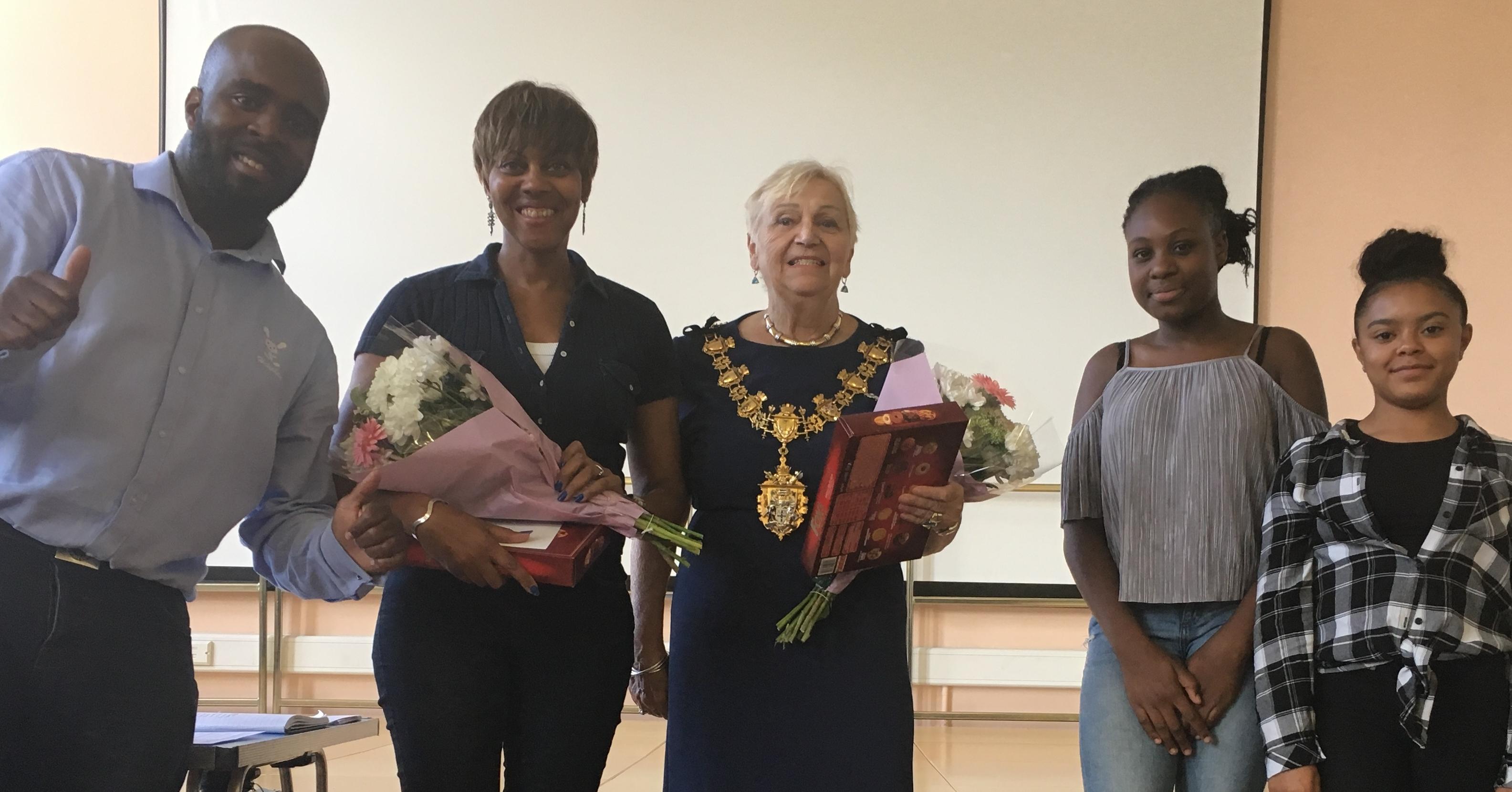 Appreciation awards from Daniel, Holiplay's Director to Evadne & The Mayor of Croydon.